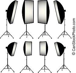lighting equipment, strip soft box vector