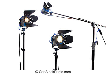 Lighting equipment three  lamps lit, Isolated on white.