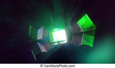 Lighting equipment with rotating shiny light lamp. Close-up...