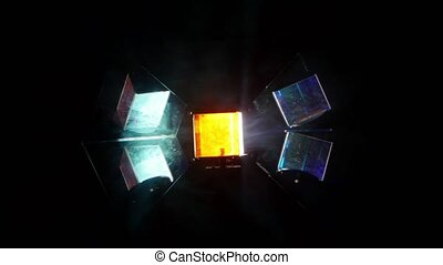Lighting equipment with rotating shiny light lamp. Mirror bowl special design and rotating prism moves the light rays. Close-up.