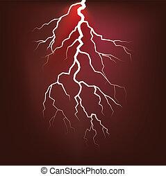 Lighting flash on the dark sky - illustration