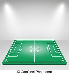 lighting., flodljus, fotboll, vektor, grön fond, fält