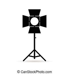lighting for old camera in black illustration