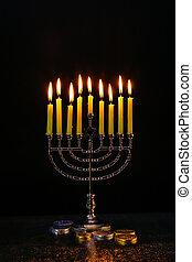 Lighting Hanukkah Candles celebration - Lighting Hanukkah...