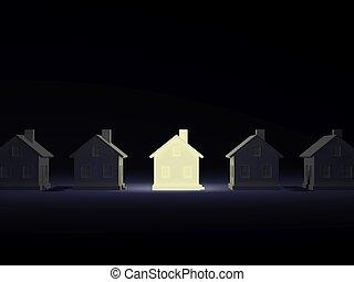 Lighting house over dark background