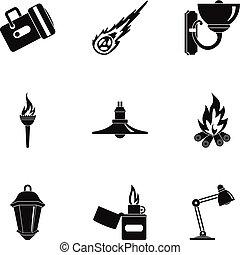 Lighting icon set, simple style