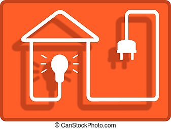 lighting in the house symbol - yellow background for...