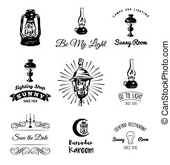 Lighting Labels Set. Table Lamp, Street Lamp, Candle Holder, Candle Edison Bulb. Vector Illustration