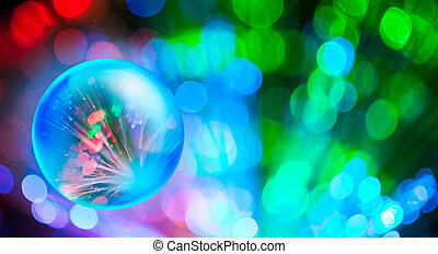 Lighting of communication line on cystal and optical fiber...