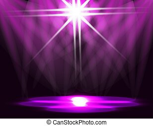 Lighting of the ice rink, catwalk, stage lights. Abstraction. Purple background. illustration