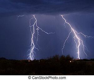 Lighting over homes - Lightning over homes, Tucson AZ