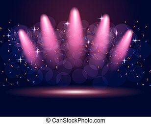 Lighting podium, stage spotlights. Abstraction. The gradient purple background. illustration