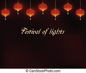 Lighting red lanterns on dark background.