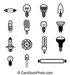 Lighting set icons - Vector files contains editable 15 bulb...