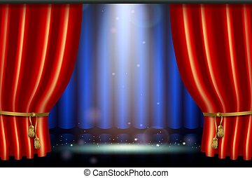 lighting spotlight effect with realistic red curtain