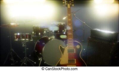 lighting., toneel, trommel, gitaar, uitrusting, onderworpen