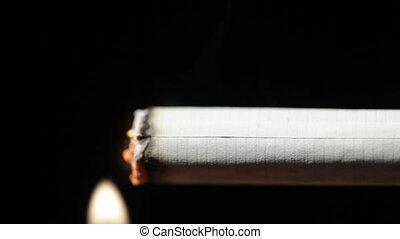 Lighting up cigarette