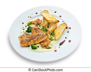 Lightly fried salmon with herb sauce with broccoli and baked...