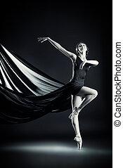 lightness - Black-and-white portrait of a graceful beautiful...