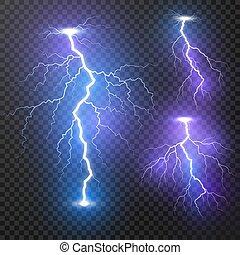 lightning., ベクトル, 嵐, 現実的, 明るい, マジック, 隔離された, 稲光する, 背景, set., イラスト, 透明, 雷, effects., ライト