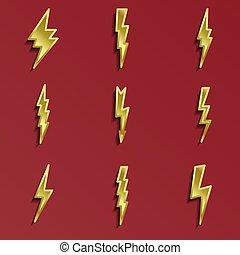 Lightning 3d icons set
