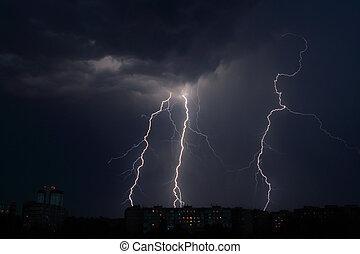 Lightning a thunderstorm, nightly cloudy sky, background