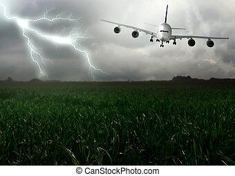 Lightning across and descend aircraft. Summer