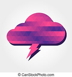 Lightning and cloud with colorful triangles