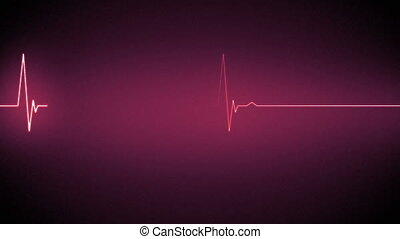 Digital animation of red lightning and heart rate moving in the screen against a dark background