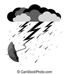 Lightning and heavy rain, falling umbrella from clouds