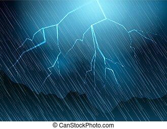 Lightning and rain blue background