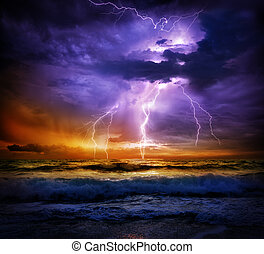 lightning and storm on sea