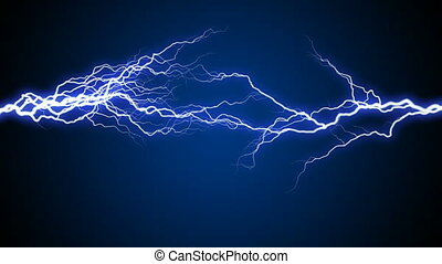 Creative abstract loop video background with blue high voltage electric lightning static arc discharge on black background