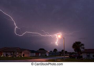 Lightning array - Massive lightning strike very close to...