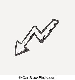 Lightning arrow downward sketch icon for web and mobile....