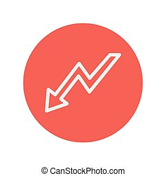 Lightning arrow downward thin line icon for web and mobile...