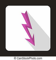 Lightning arrow icon, flat style