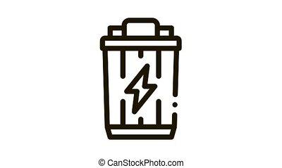 Lightning Battery Icon Animation. black Lightning Battery animated icon on white background