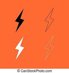 Lightning black and white set icon .