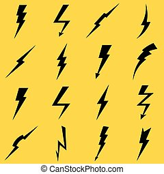 Lightning black vector icons set