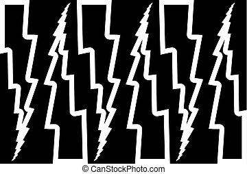 Lightning bolt - abstract geometric vector pattern - black...