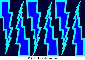 Lightning bolt - abstract geometric vector pattern - blue,...