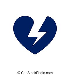 Lightning bolt and heart sign symbol, Electricity Logo
