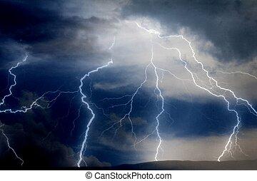 Lightning bolt at night - Illustration