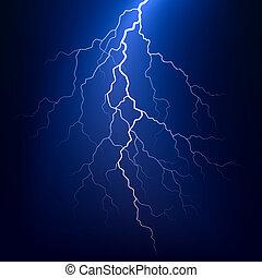 Vector illustration of a lightning bolt at night