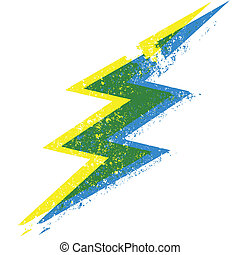 lightning bolt double vision - a blue, green and yellow...
