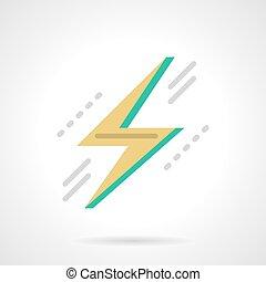 Lightning bolt flat color design vector icon