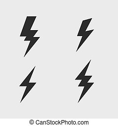 Lightning bolt flat icons set