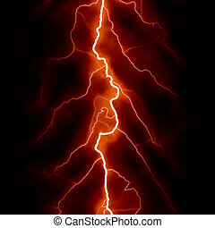 Lightning Bolt Forked Against a Dark Sky