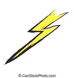 Lightning bolt hand drawn, vector icon